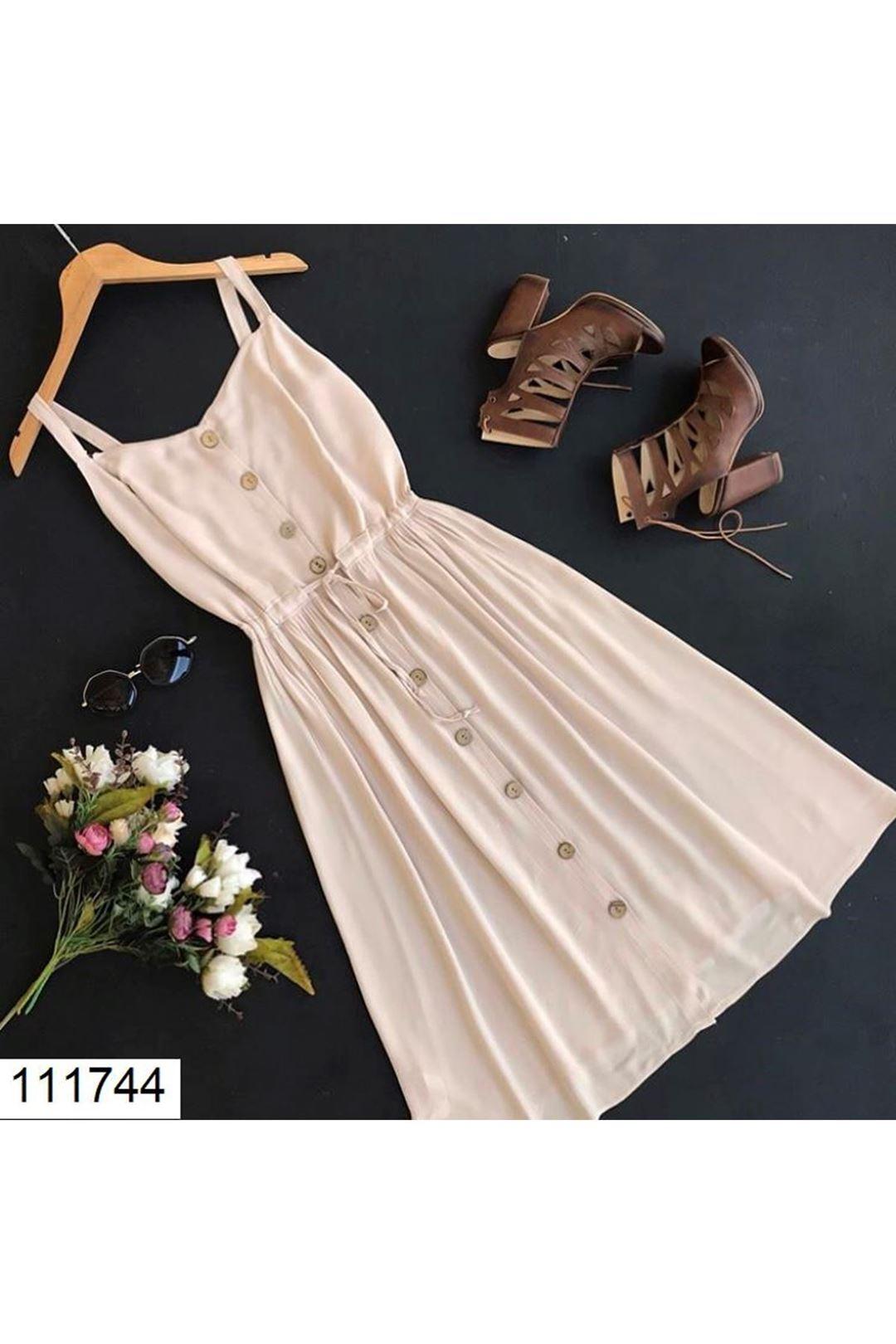 Askılı Önü Düğmeli Bej Kadın Elbise 111744