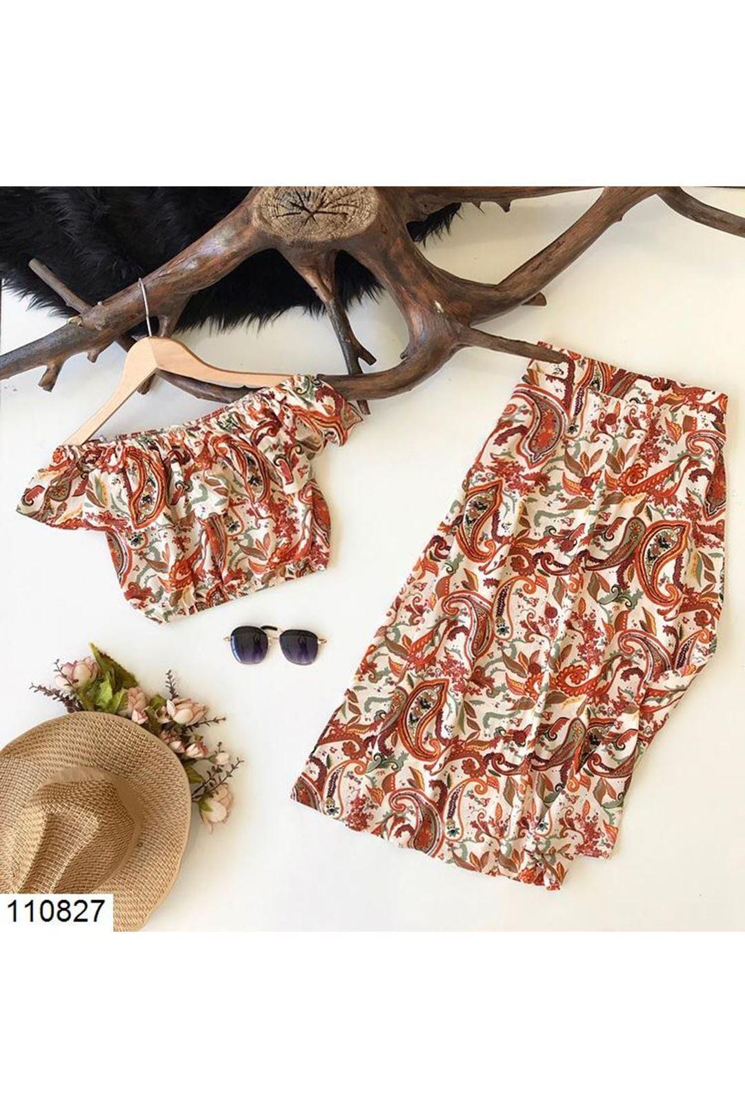 Desenli Kadın Etek Bluz Takım 110827