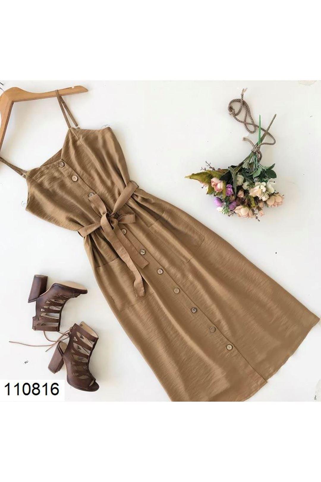 Cepli Askılı Taba Kadın Elbise 110816