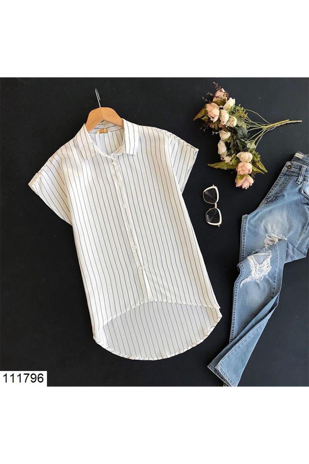 Lacivert Çizgili Kadın Gömlek 111796