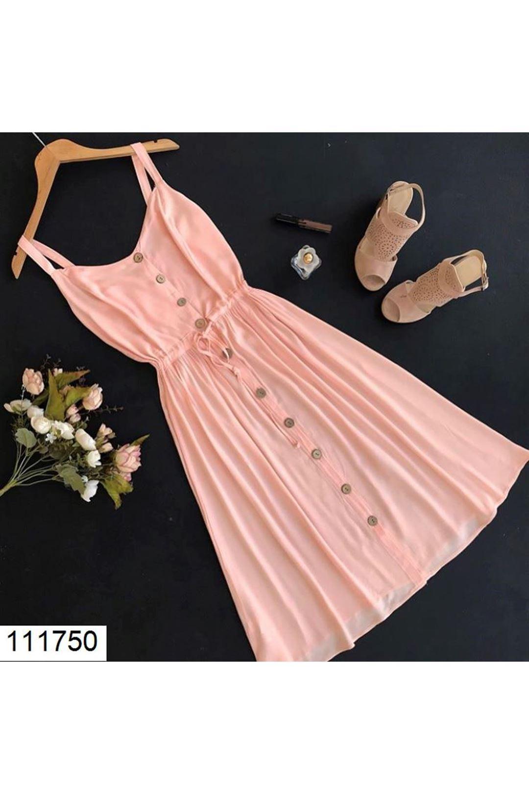 Düğme Detaylı Ön Büzgülü Somon Elbise   111750