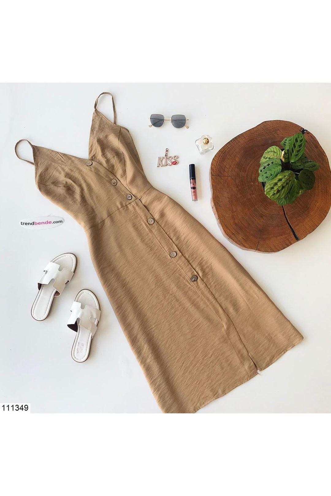 Askılı Çapraz Düğmeli Taba Kadın Elbise 111349