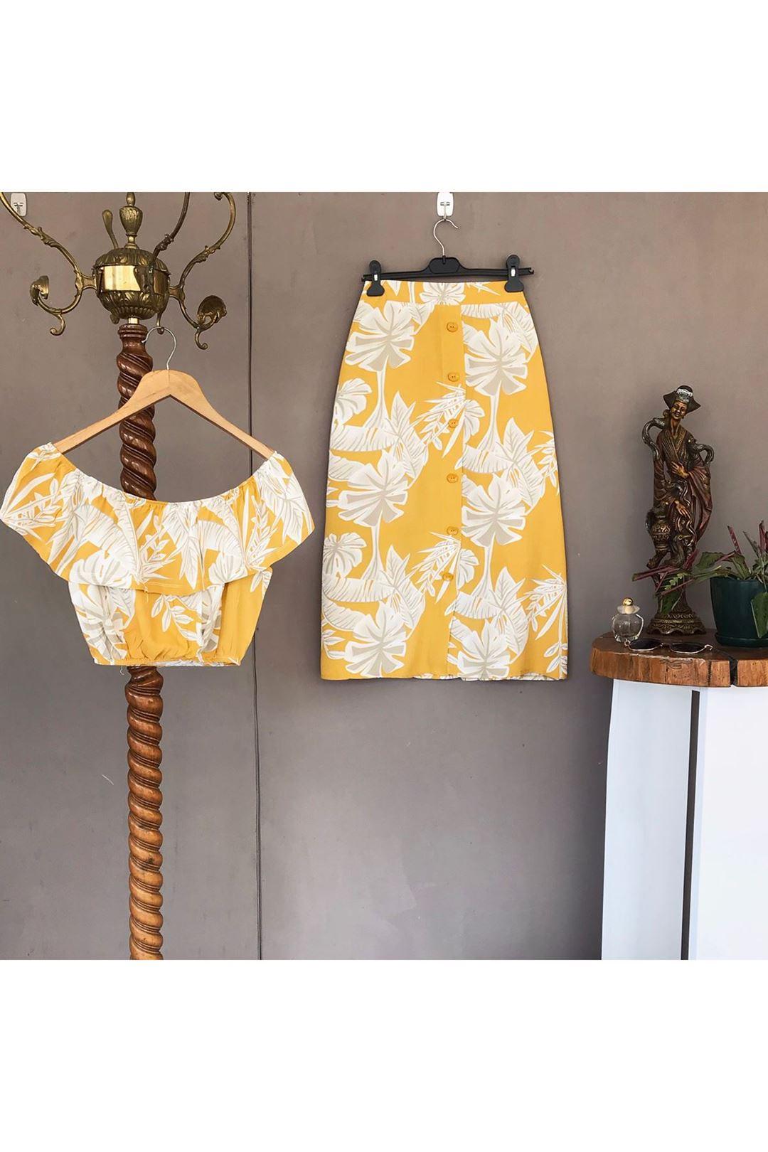 Desenli Sarı Kadın Etek Bluz Takım 110764