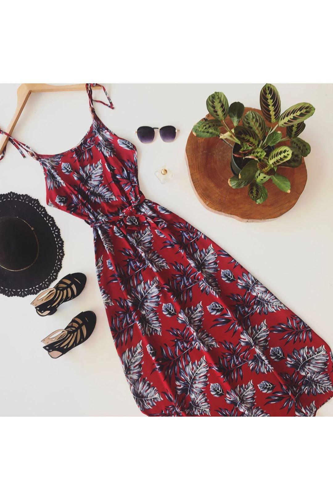 İp Askılı Desenli Bordo Uzun Kadın Elbise 111151
