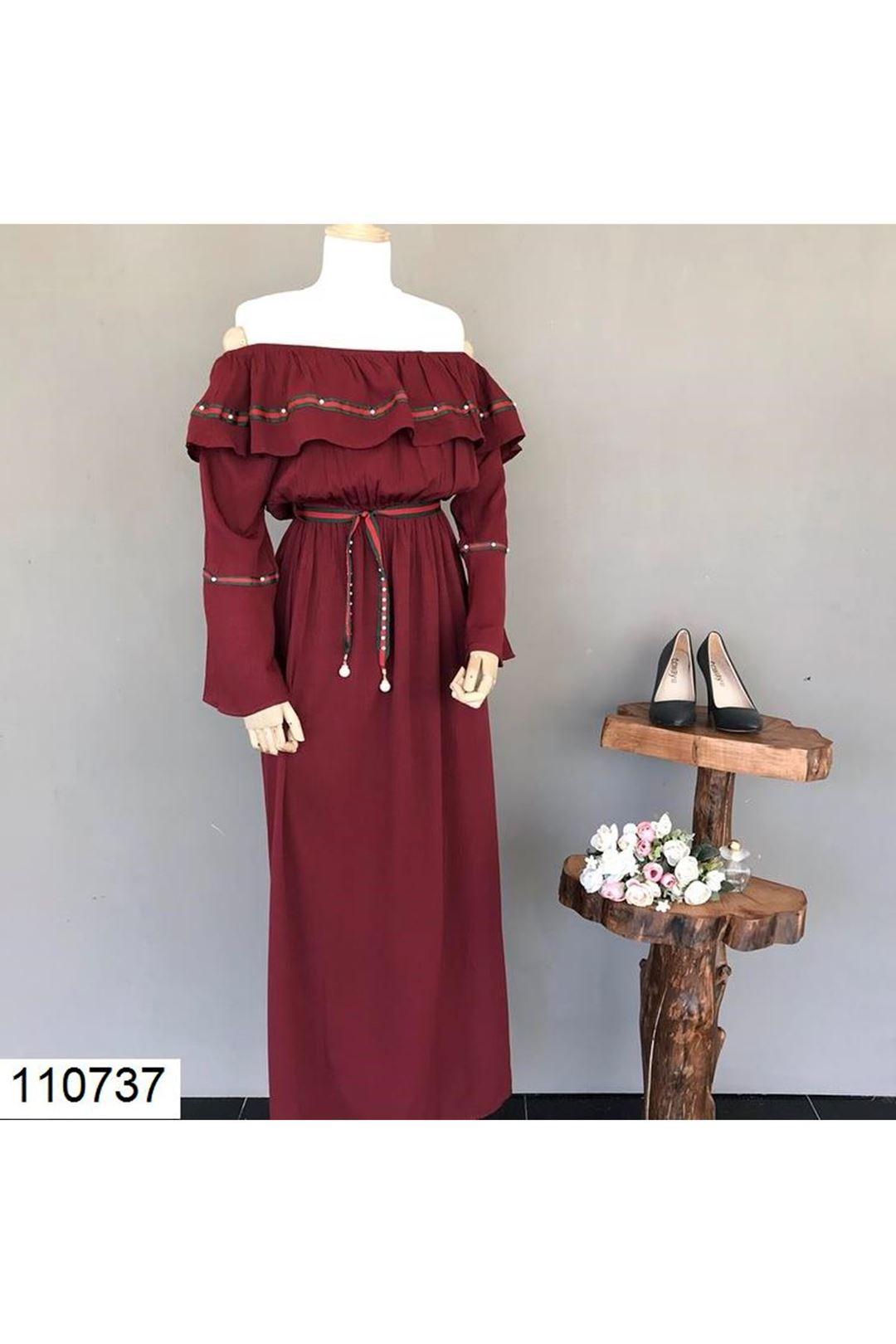 Madonna Yaka Bordo Kadın Elbise 110737