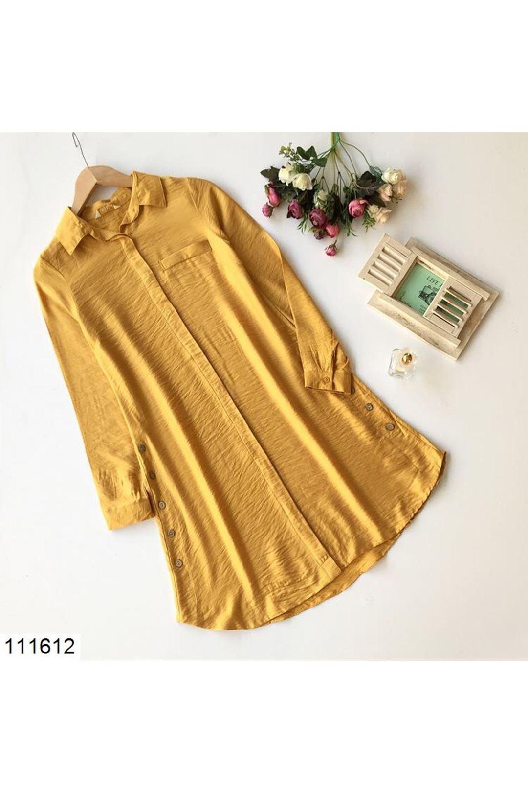 Hardal Düğme Detaylı Kadın Tunik Gömlek  111612