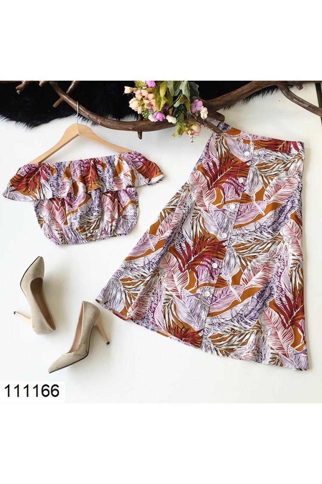 Desenli Kadın Etek Bluz Takım 111166