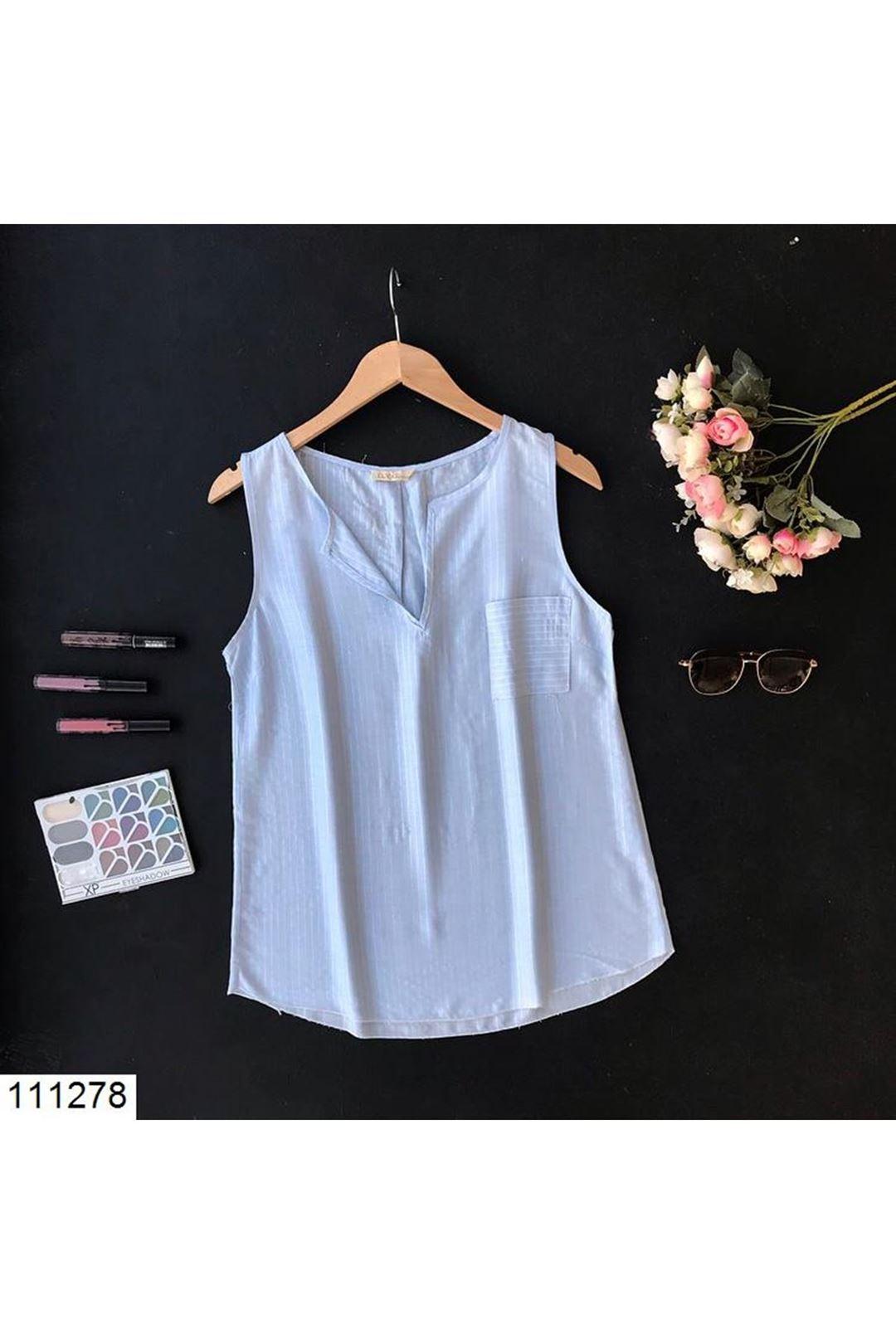 V Yaka Cepli Buz Mavisi Kadın Bluz 111278