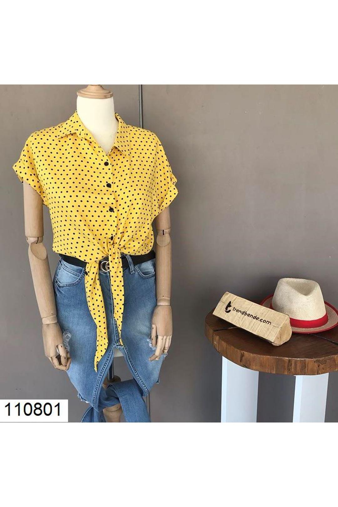 Bel Bağlamalı Sarı Kadın Gömlek  110801