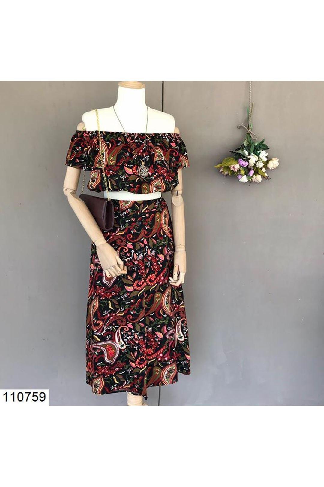Desenli Siyah Kadın Etek Bluz Takım 110759