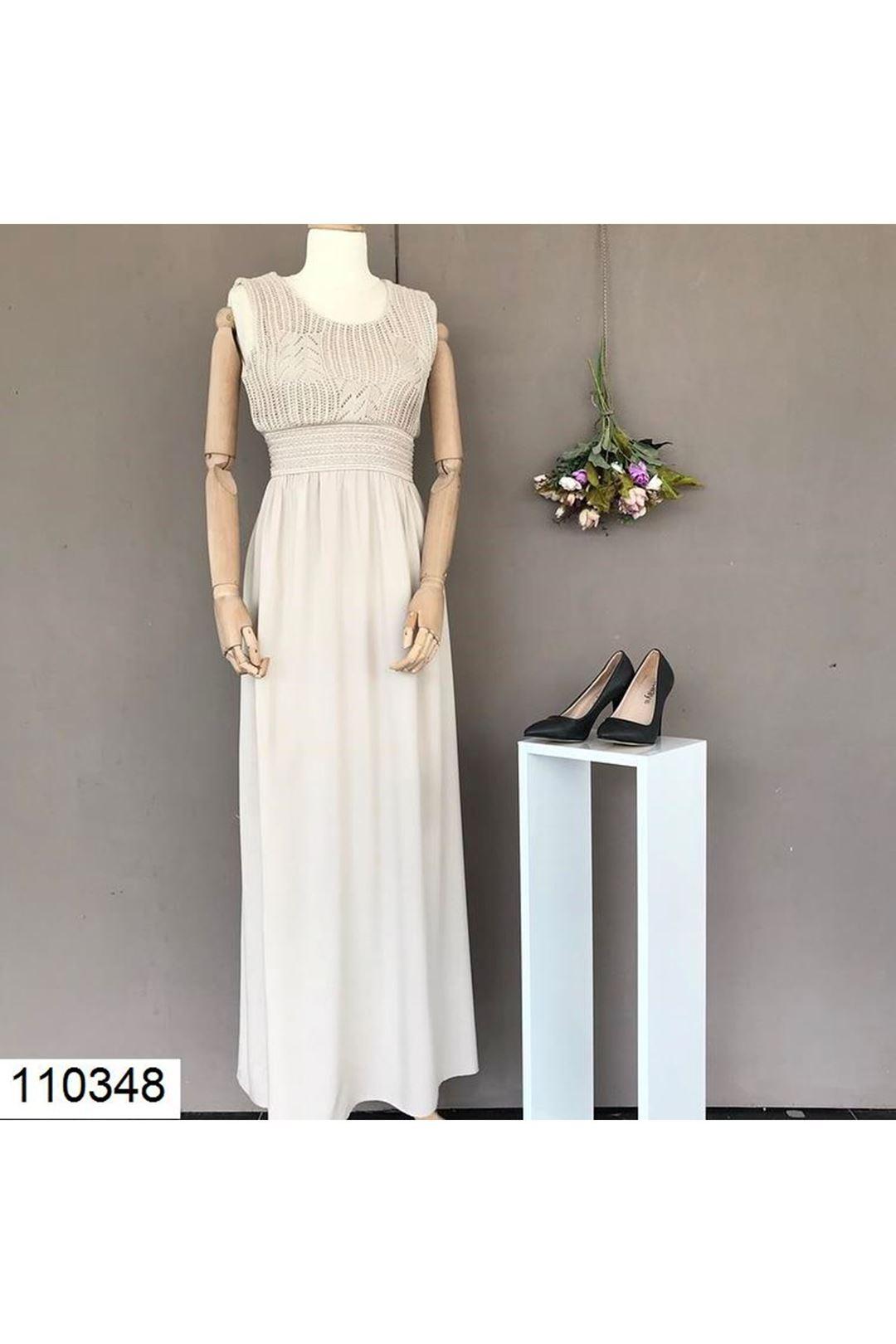 Örgü Desenli Bej Uzun Kadın Elbise   110348
