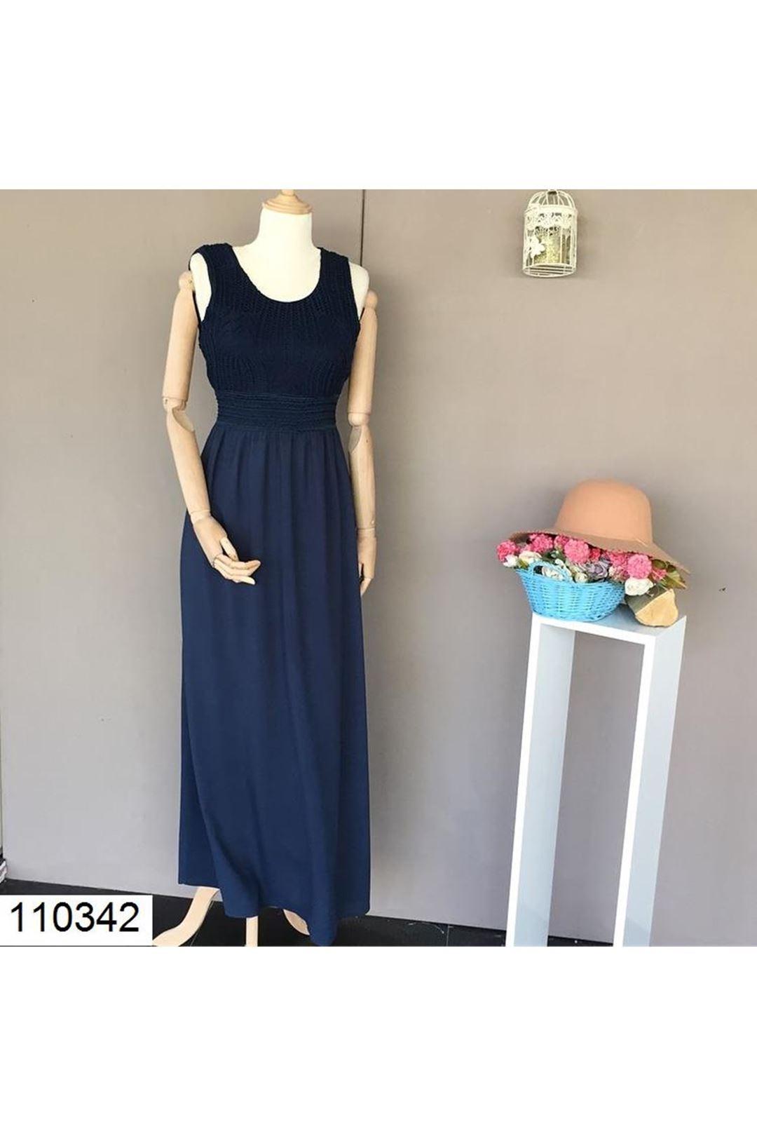 Örgü Desenli Lacivert Uzun Kadın Elbise 110342