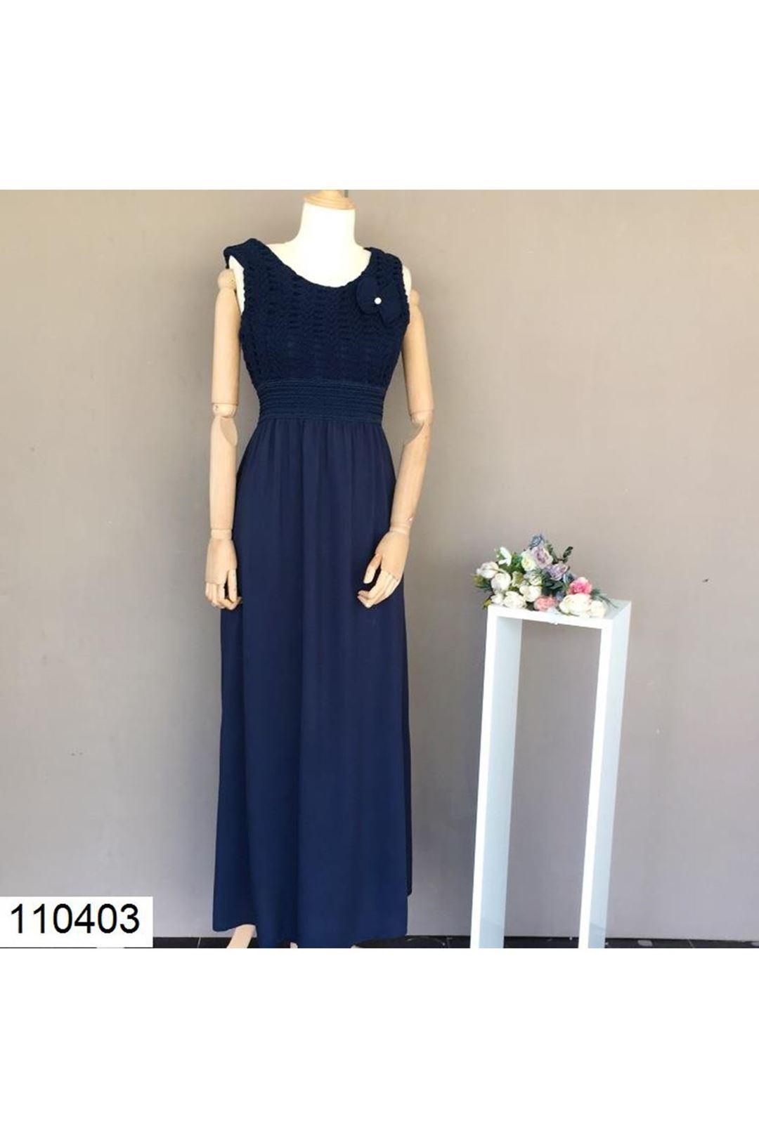 Örgü Desenli Uzun Lacivert Kadın Elbise 110403
