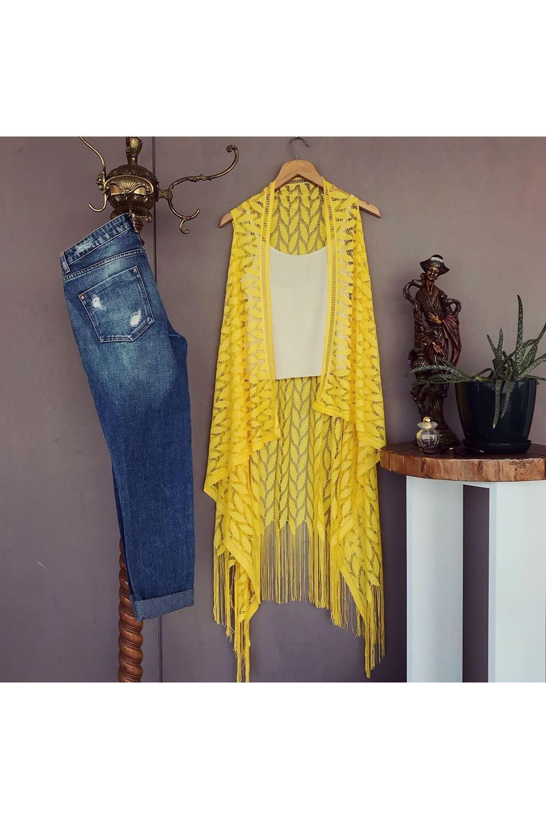 Püsküllü Sarı Kadın Pareo 109508
