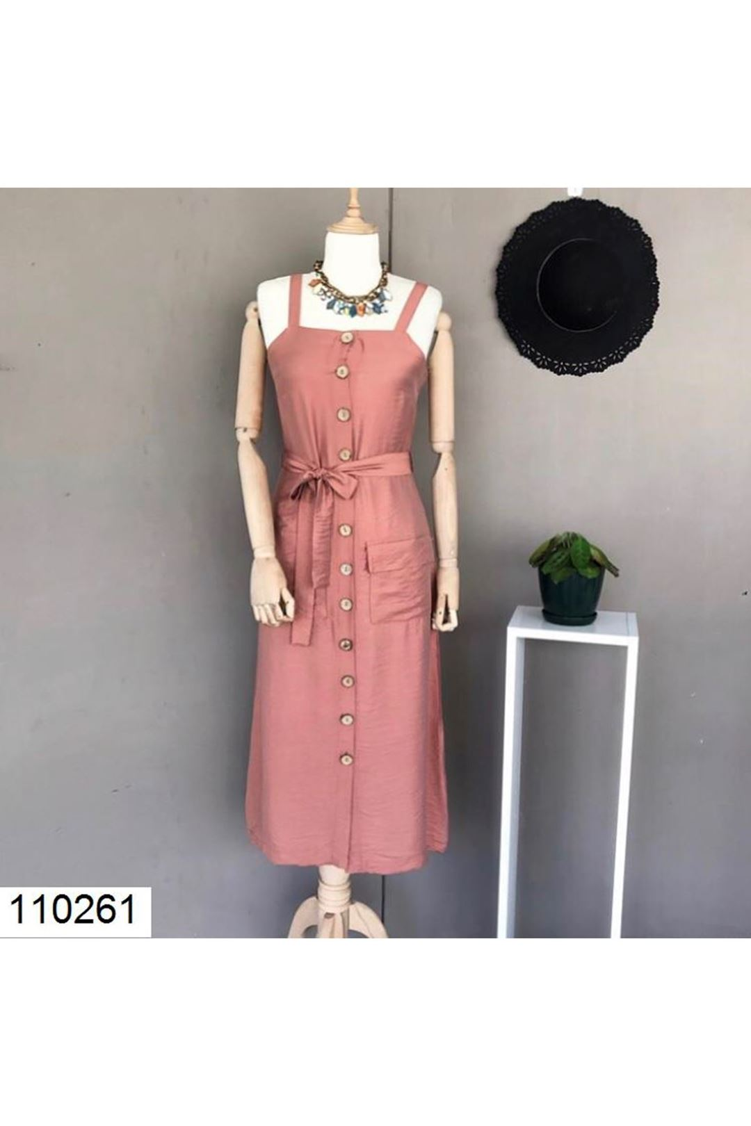 Askılı Önü Düğmeli Cepli Kadın Elbise 110261