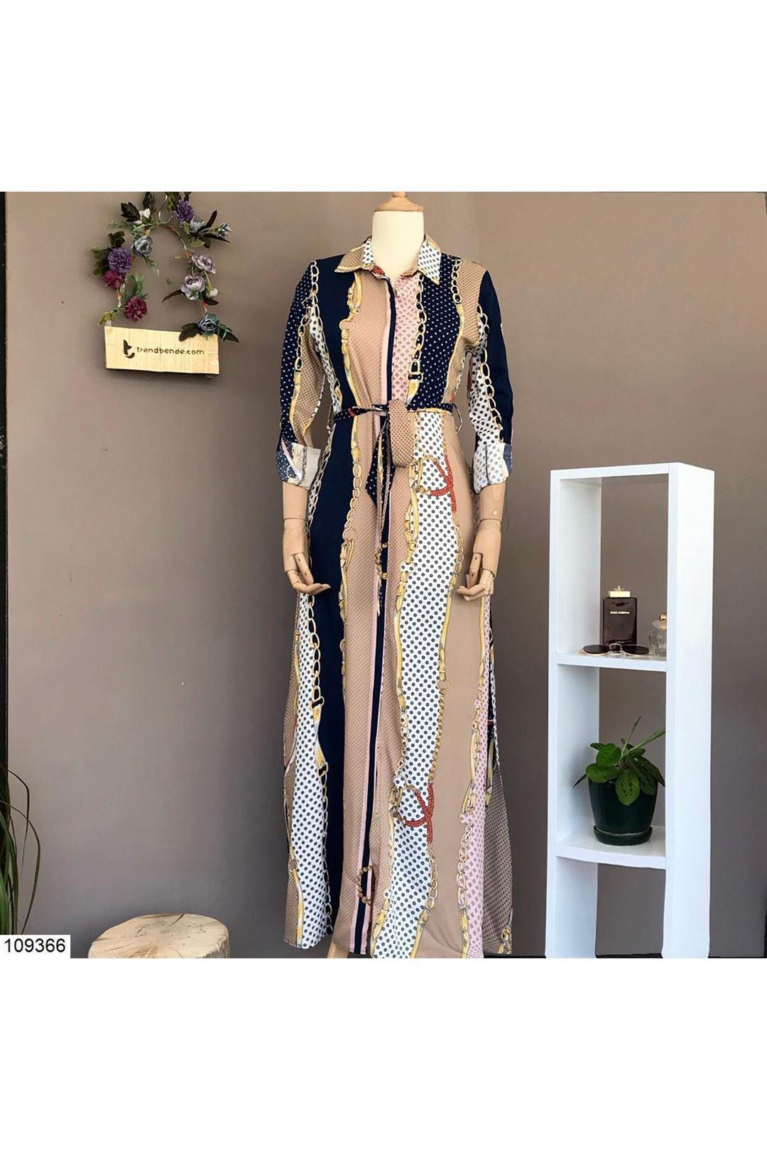 Desenli Uzun Kadın Elbise 109366