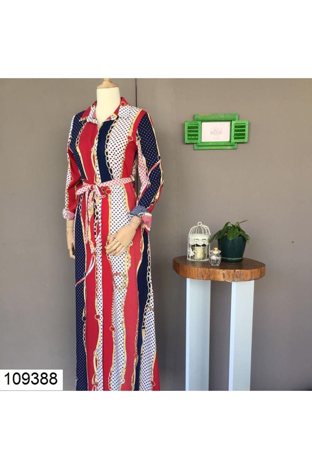 Desenli Lacivert Uzun Kadın Elbise 109388