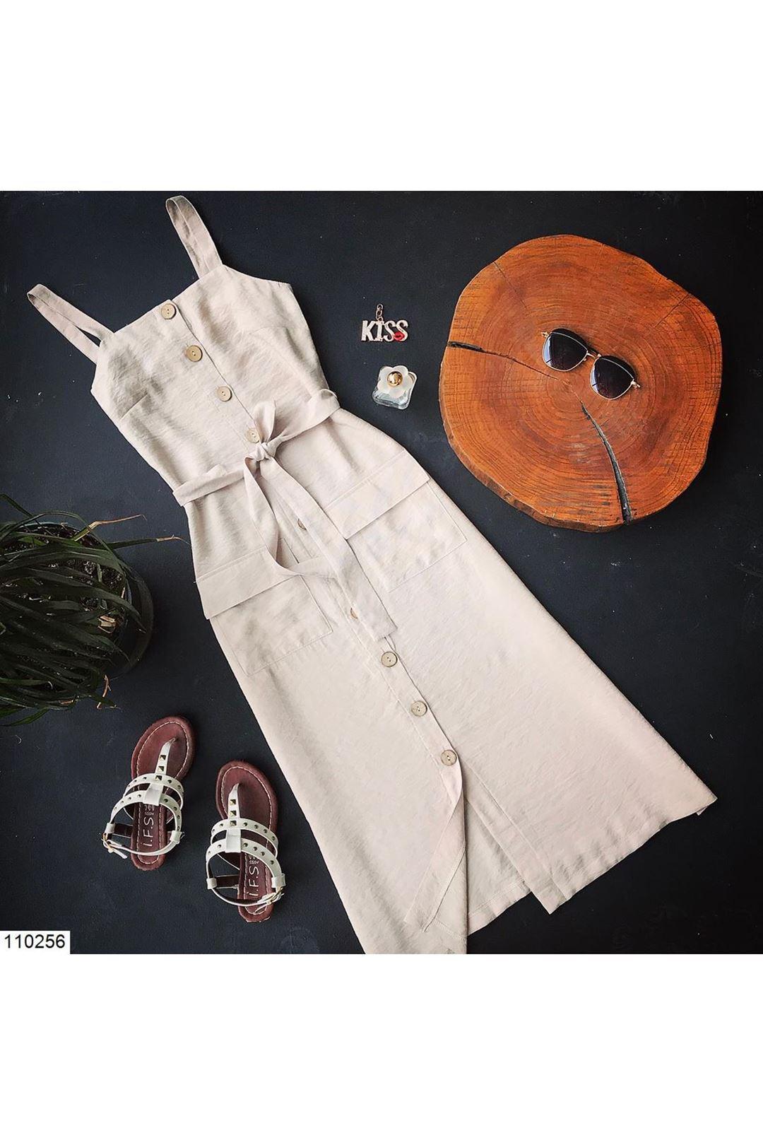 Askılı Bej Düğmeli Kadın Elbise 110256