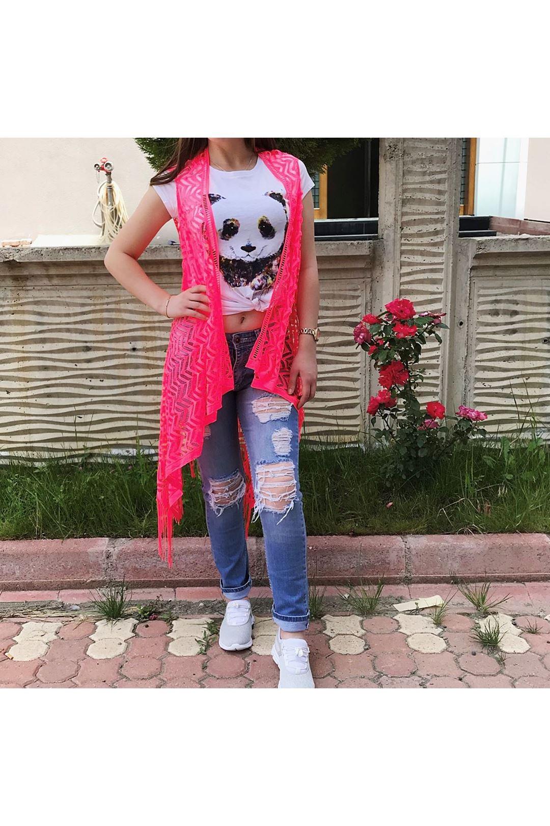 Neon Pembe Kadın Yelek 109491