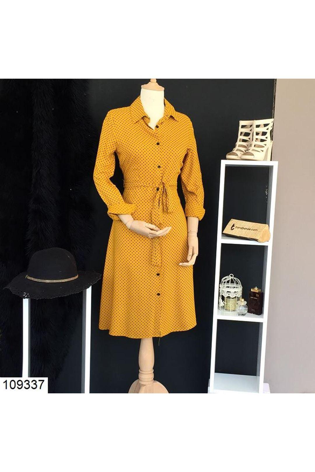 Puantiyeli Hardal Kısa Kadın Elbise 109337