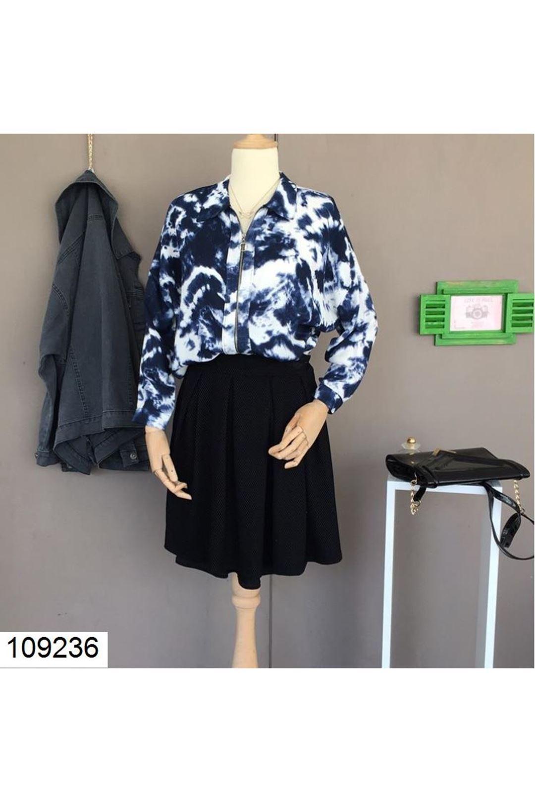 Fermuar Detaylı Salaş Kadın Gömlek  109236