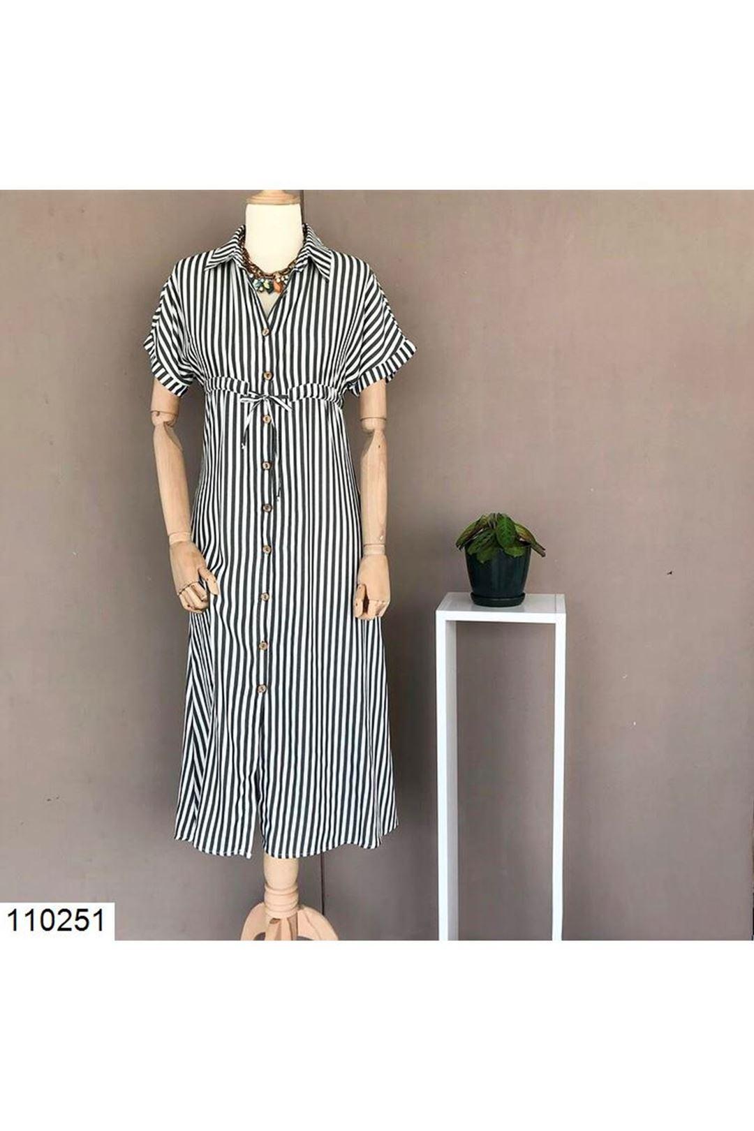 Bel Bağlamalı Yeşil Çizgili Midi Boy Kadın Elbise 110251