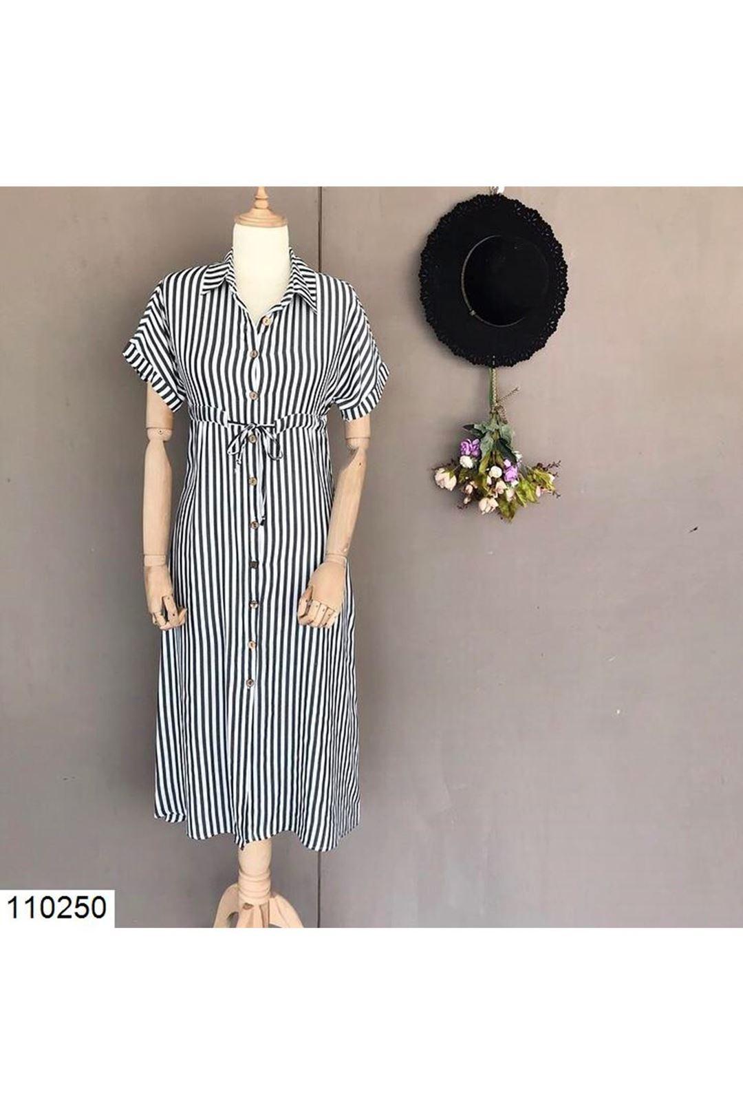 Bel Bağlamalı Çizgili Midi Boy Kadın Elbise 110250