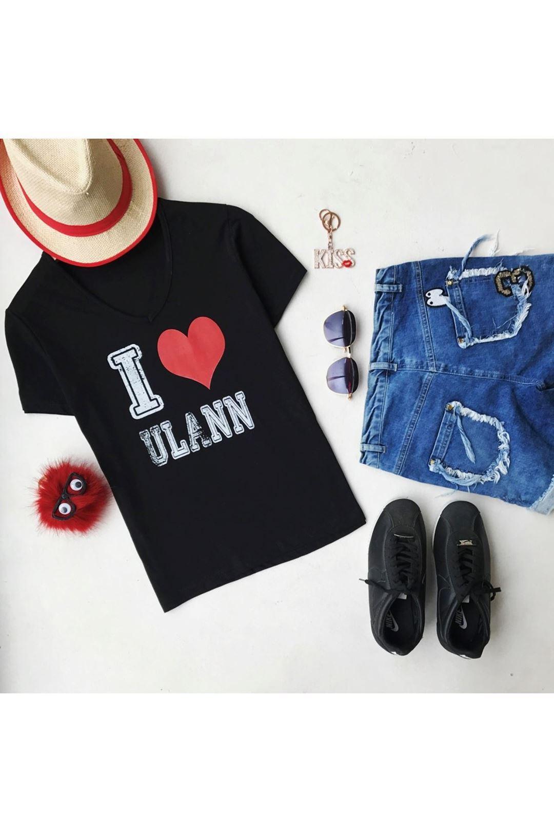 Baskılı V Yaka Siyah Kadın T-Shirt 95877