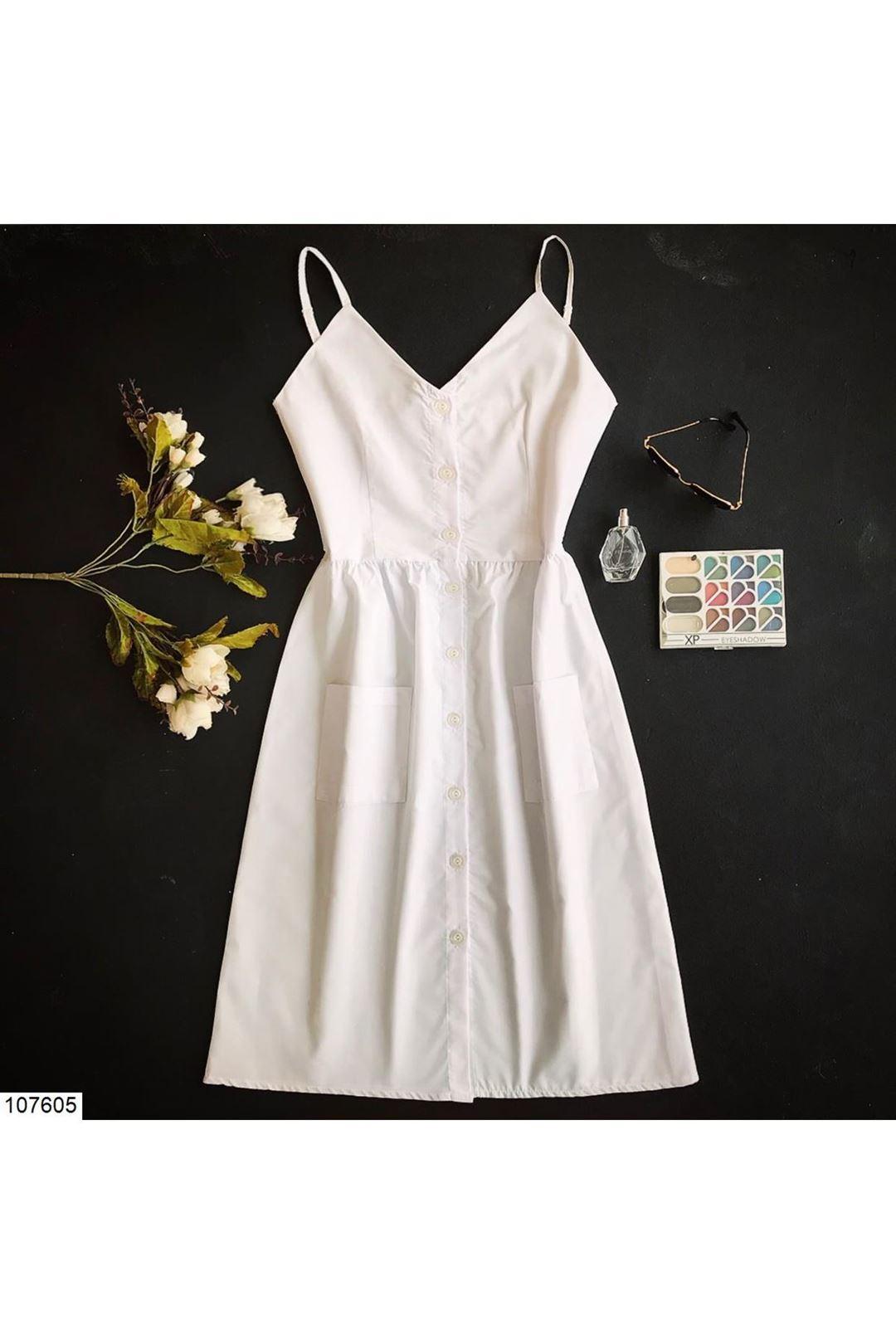 İp Askılı Beyaz Kadın Elbise 107605