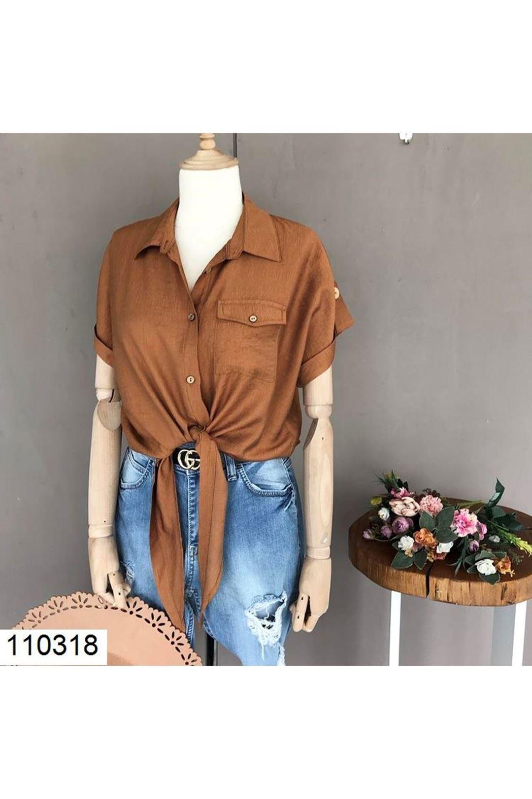 Bel Bağlamalı Cepli Taba Kadın Gömlek 110318