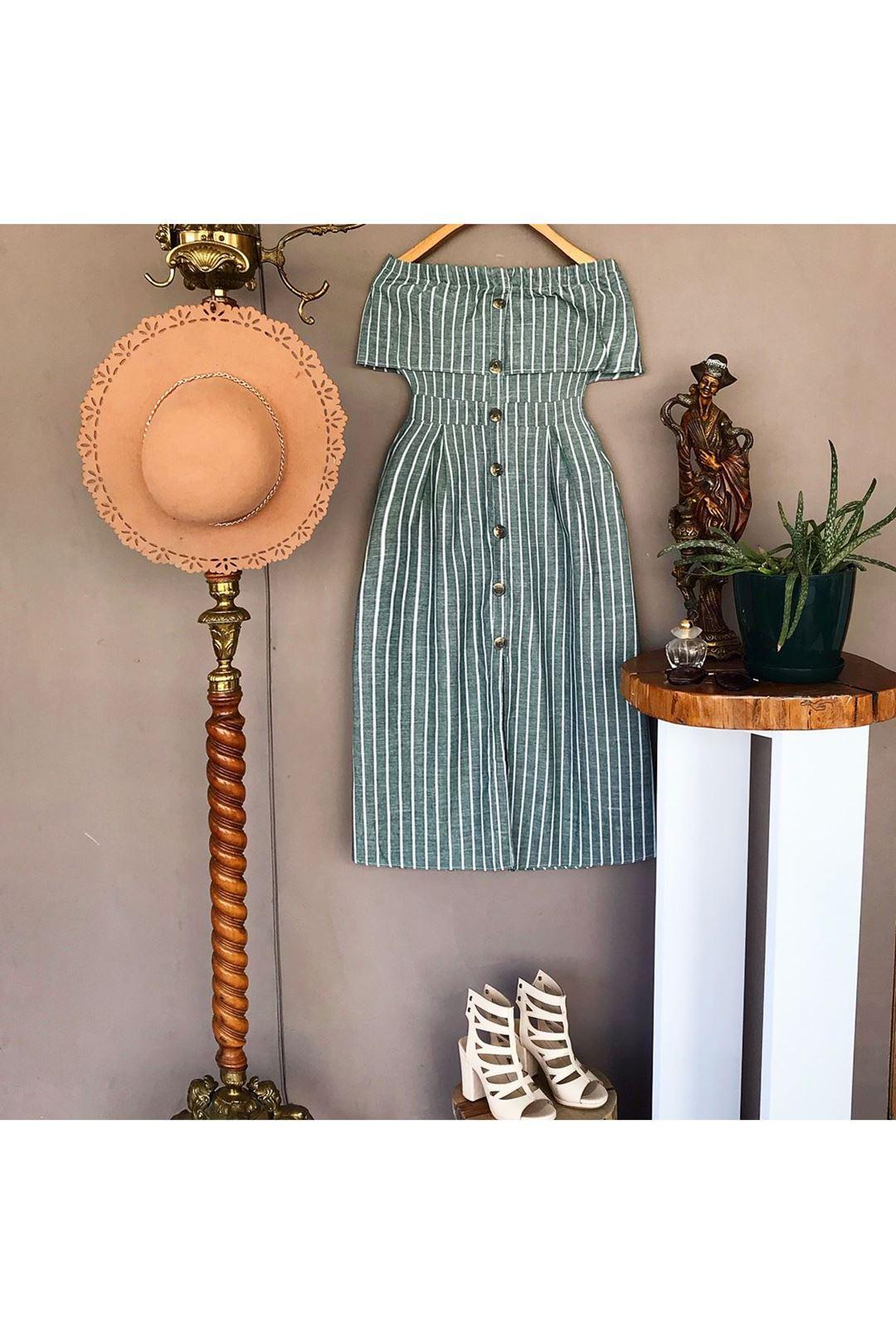 Straplaz Yeşil Çizgili Kadın Elbise  112892
