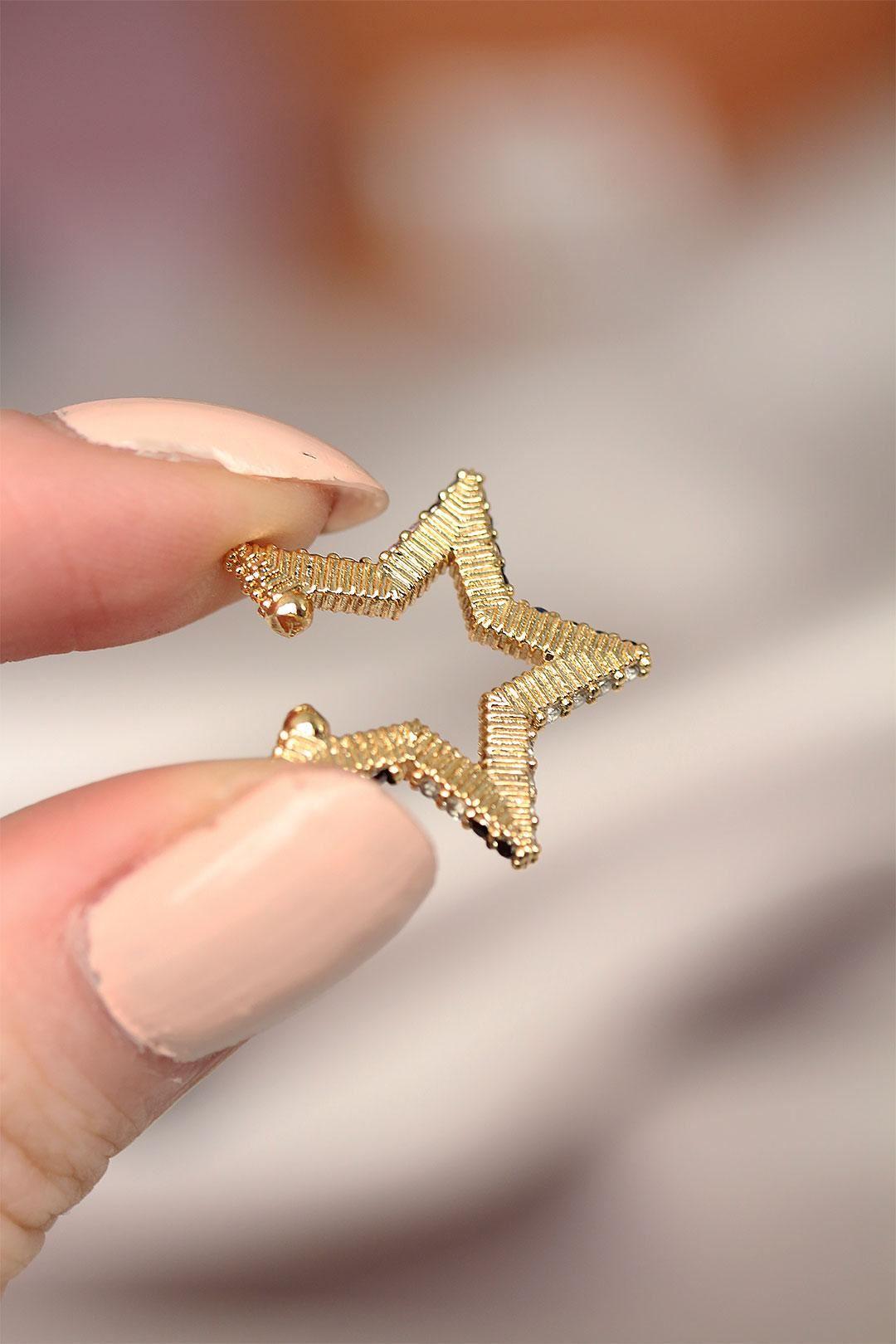 Renkli Zirkon Taşlı Yıldız Model Kıkırdak Küpe_copy