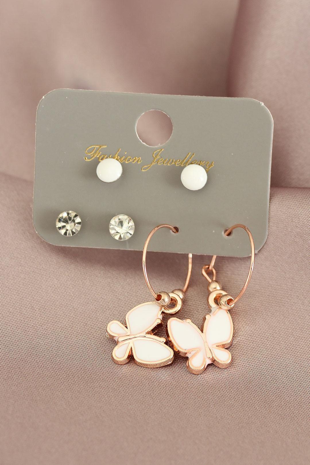Beyaz Kelebek Tasarımlı Rose Renk Taşlı Kadın Küpe Seti