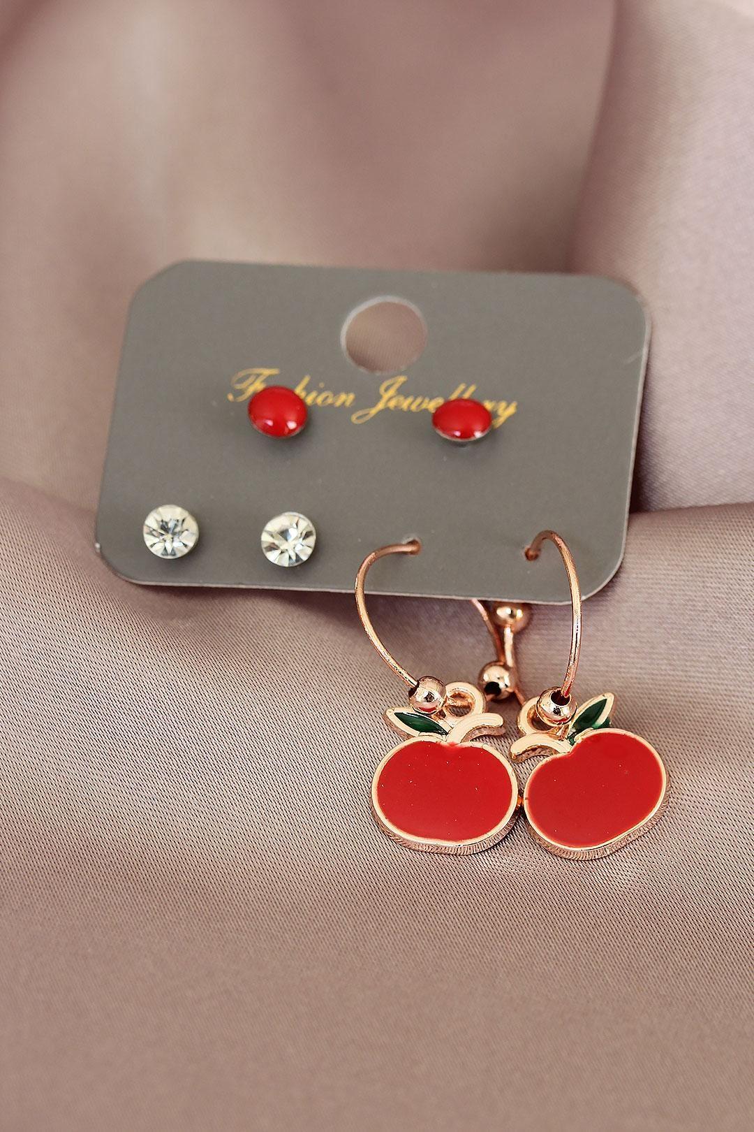 Kırmızı Elma Tasarımlı Rose Renk Taşlı Kadın Küpe Seti