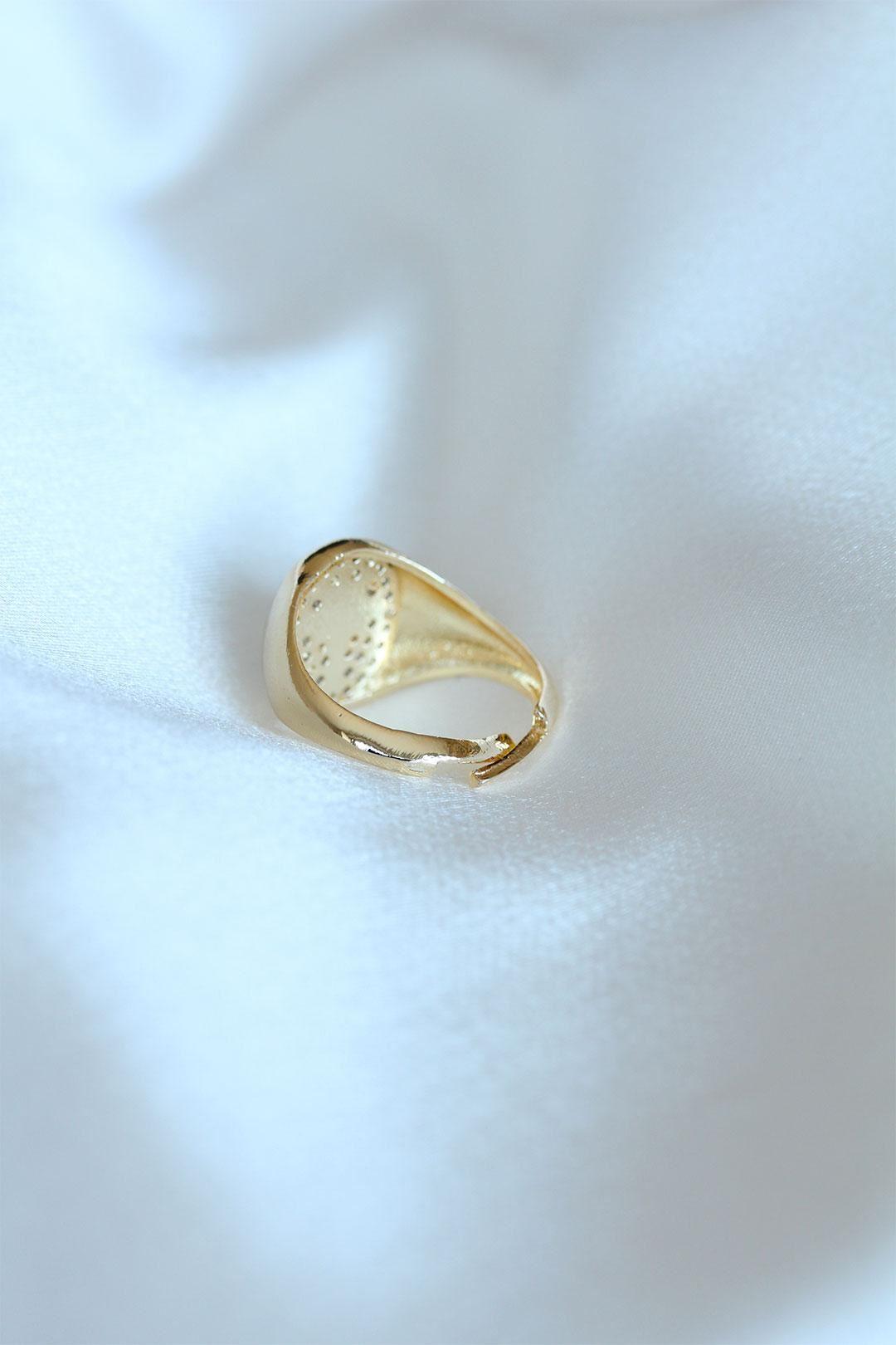 Kutup Yıldızı Gold Renk Zirkon Taşlı Yüzük