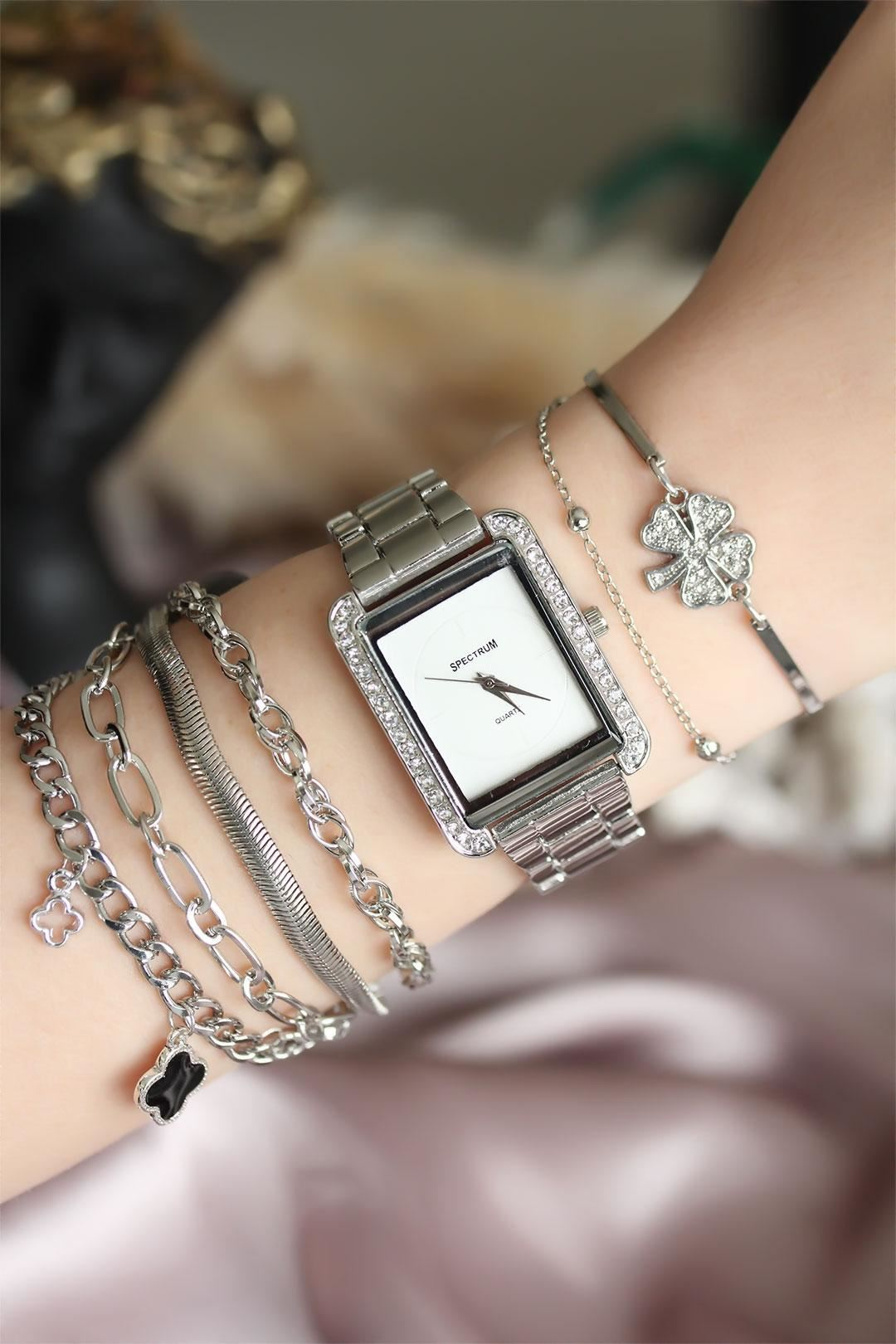 Gümüş Renk Zirkon Taşlı Kare Kadın Saat ve Bileklik Kombini