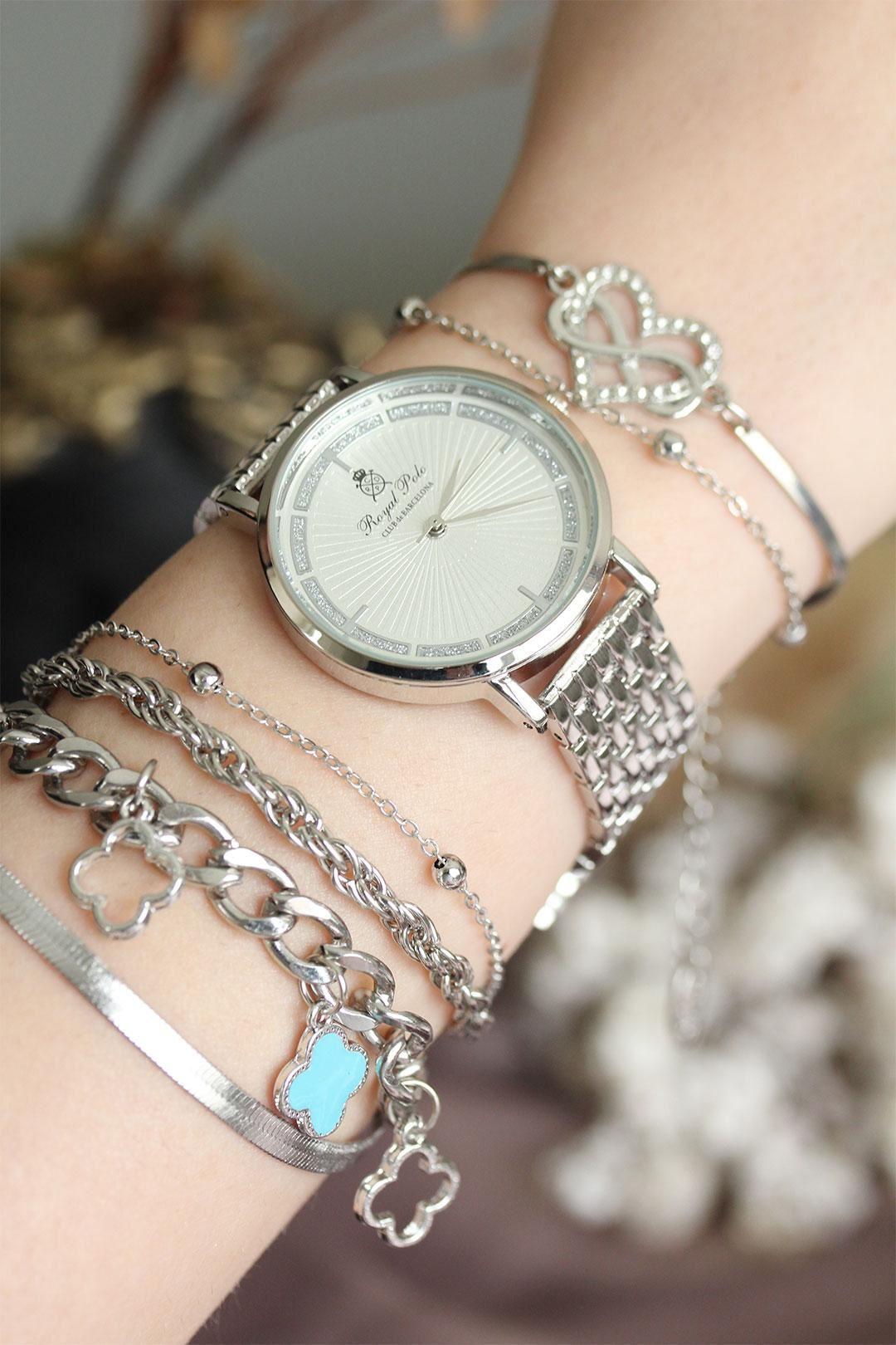 Gümüş Renkli Zirkon Taşlı Kasa Kadın Saat ve Bileklik Kombini
