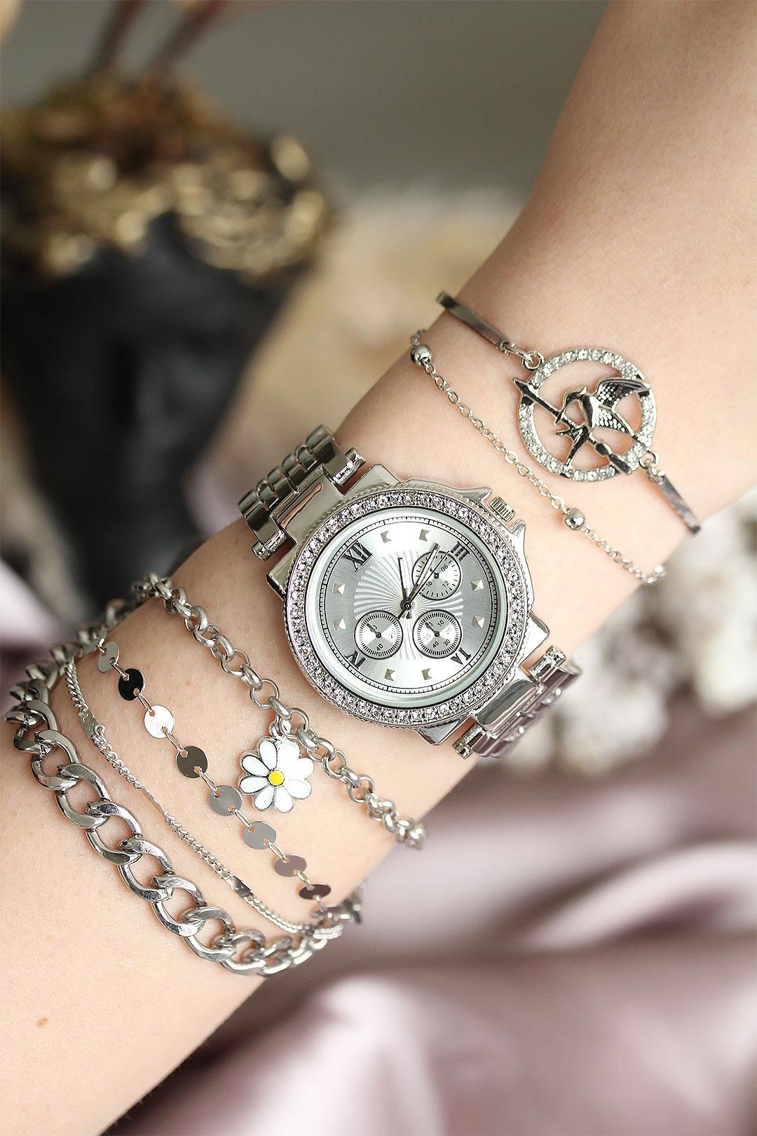 Gümüş Renk Zirkon Taşlı Roma Rakamlı Kadın Saat ve Bileklik Kombini