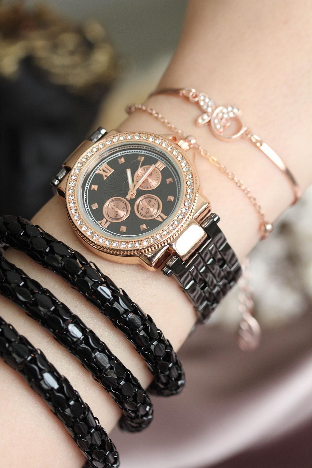 Füme Renk Zirkon Taşlı Roma Rakamlı Kadın Saat ve Bileklik Kombini