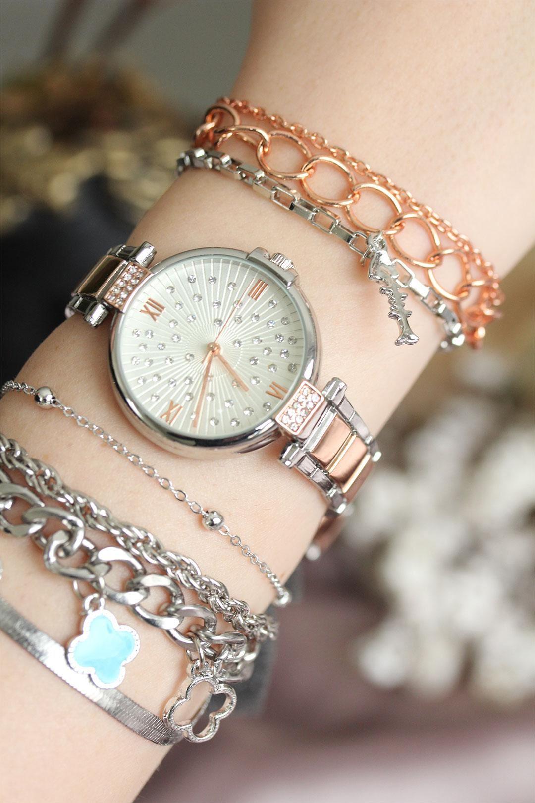 Gümüş Rose Renk Zirkon Taşlı Roma Rakamlı Kadın Saat ve Bileklik Seti