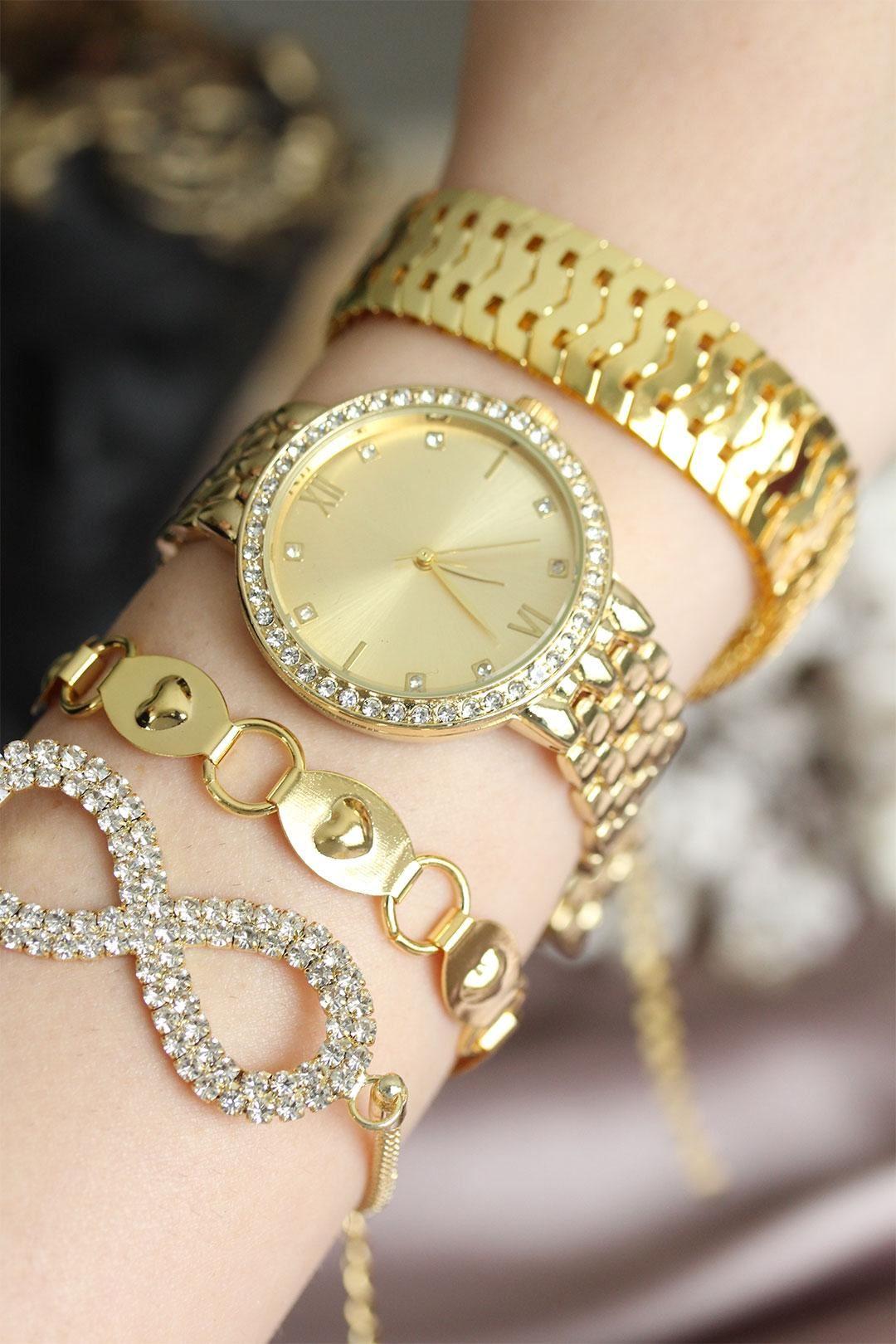 Altın Renk Zirkon Taşlı Roma Rakamlı Kadın Saat ve Bileklik Kombini