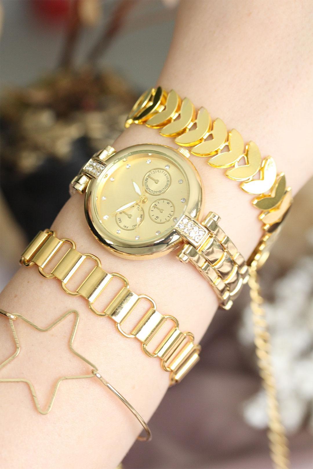 Altın Renk Zirkon Taşlı Metal Kadın Saat ve Bileklik Kombini