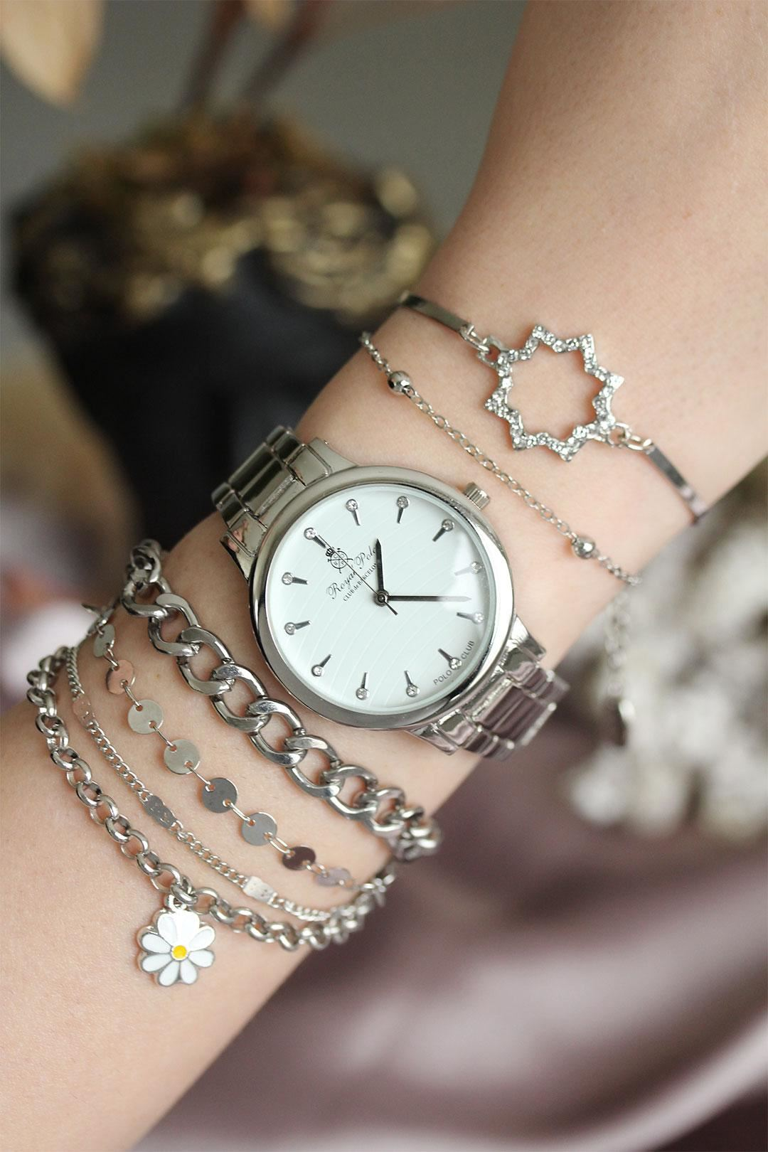 Gümüş Renk Zirkon Taşlı Kasa Kadın Saat ve Bileklik Kombini