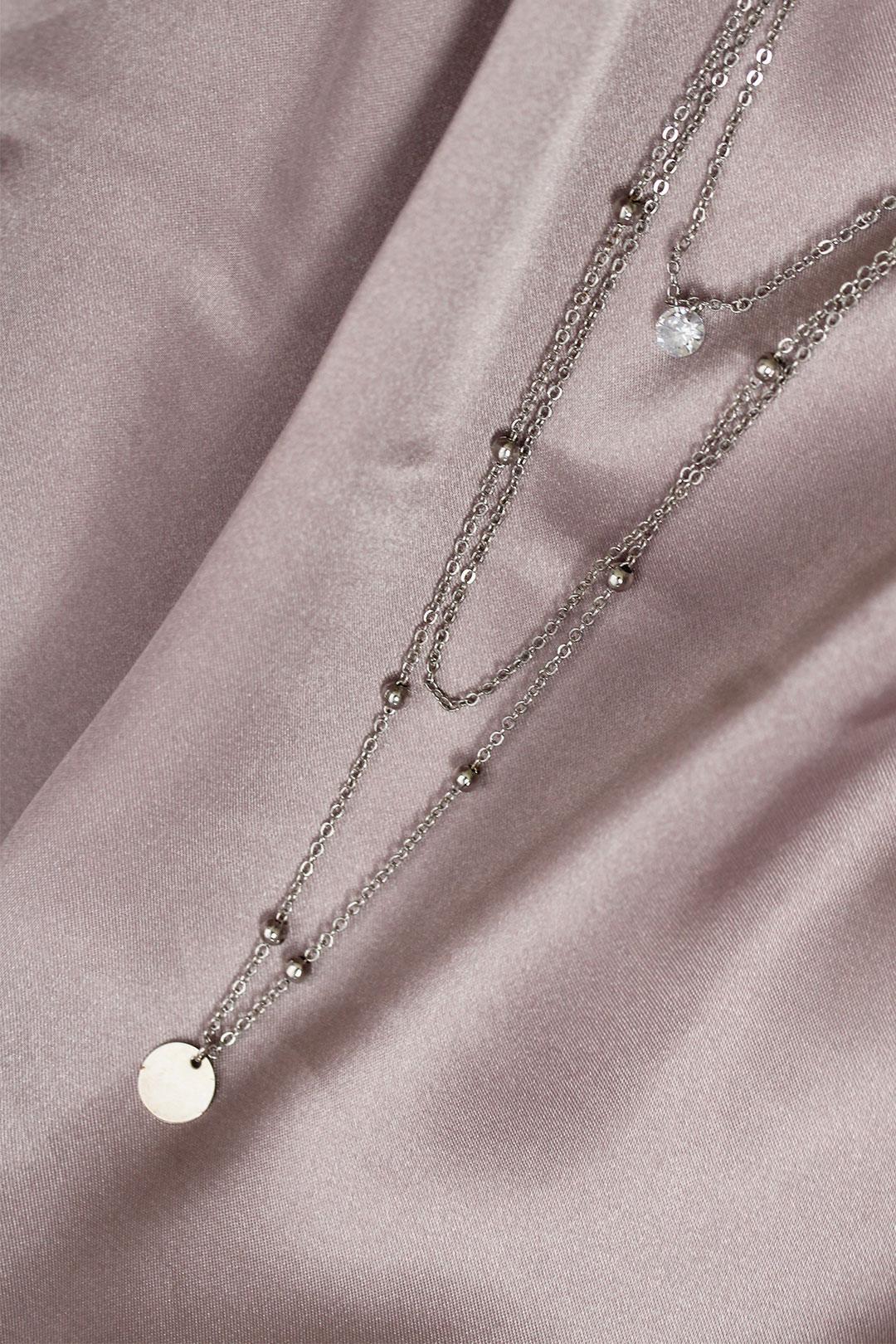 Gümüş Renk Çoklu Zincir Kadın Kolye