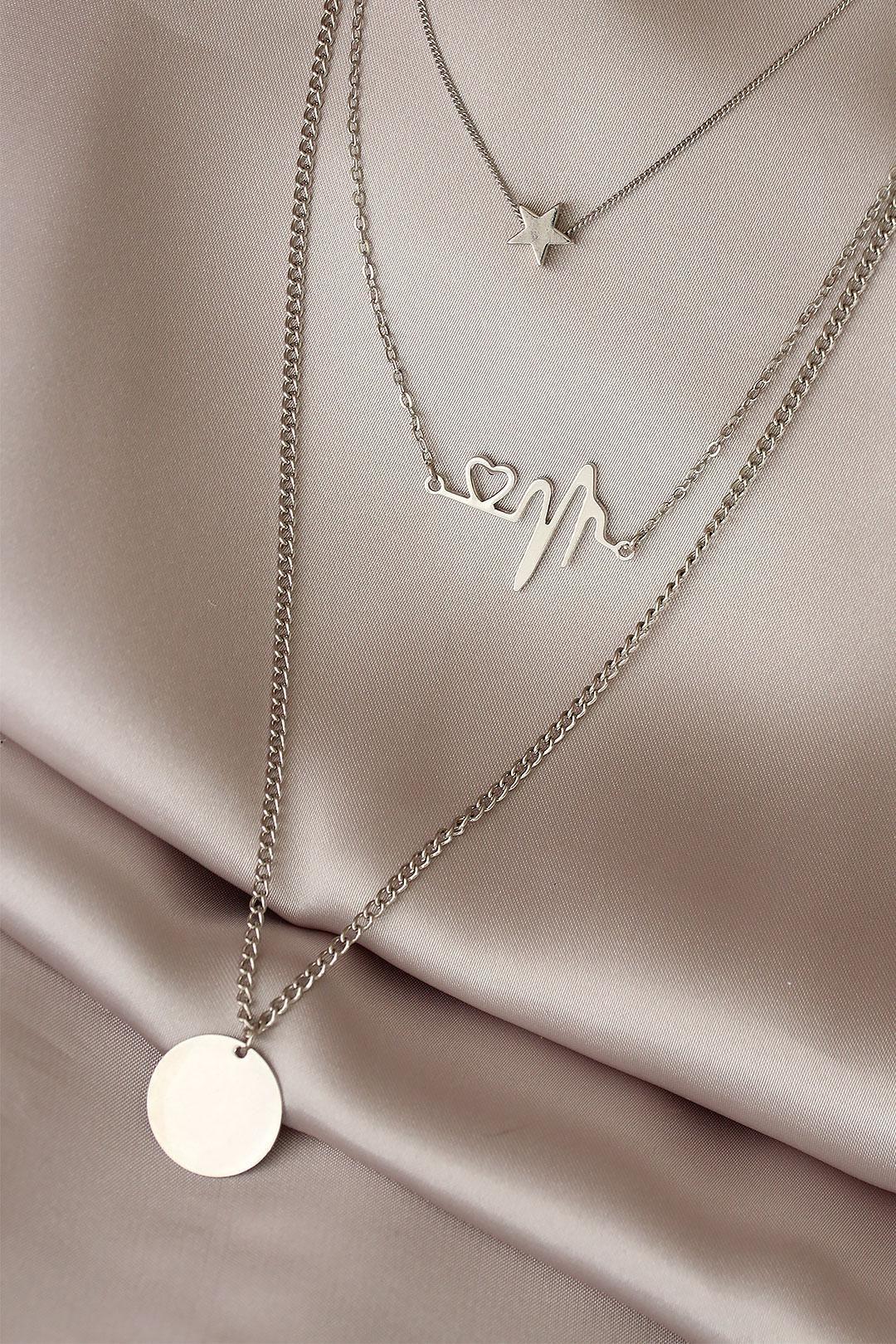 Kalp Ritimli Gümüş Renk Çoklu Kolye
