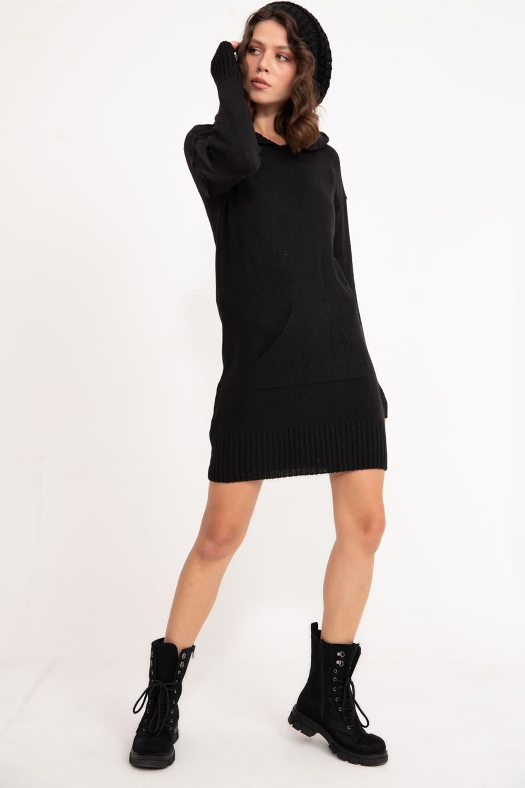 Kapşonlu Triko Tunik Siyah