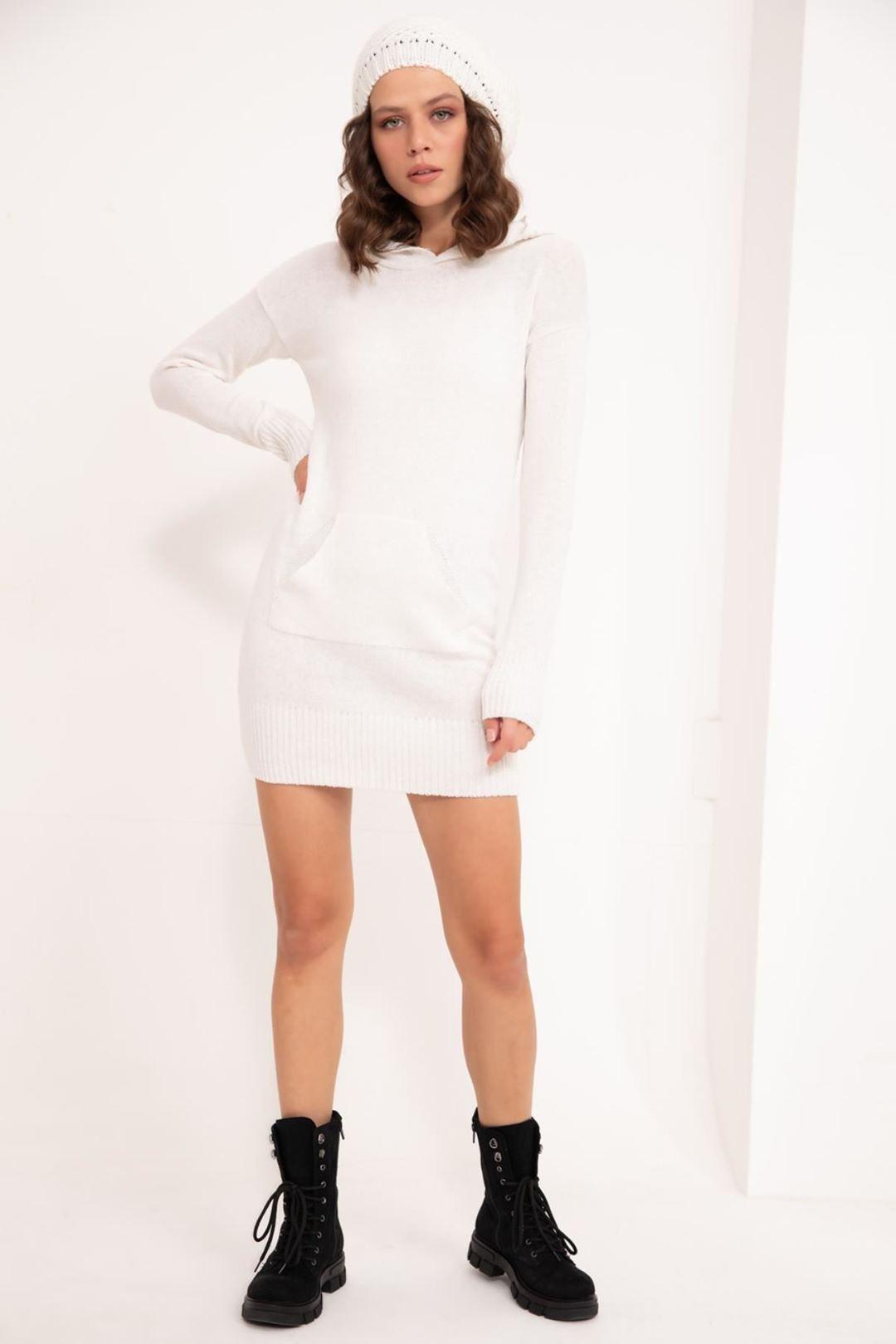 Kapşonlu Triko Tunik Beyaz