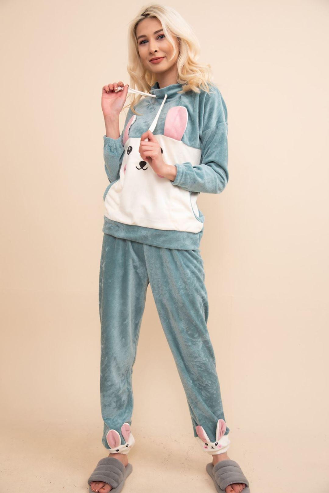 tavşan baskılı kadife pijama takımı Mint