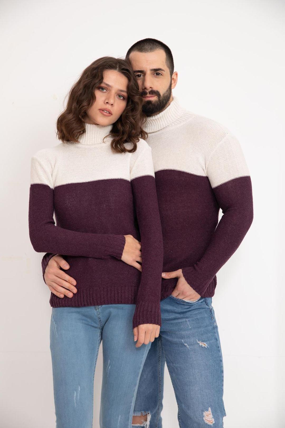 Çift Renk Bogazlı Eşli Triko Bluz Mürdüm