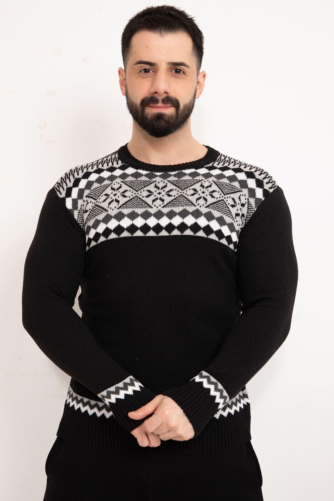Desenli Erkek Triko Kazak Siyah